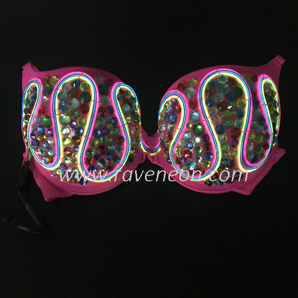 Rhinestone Light Up Bra LED Light Up Daisy Bra EL Wire Bra LED Rave ...
